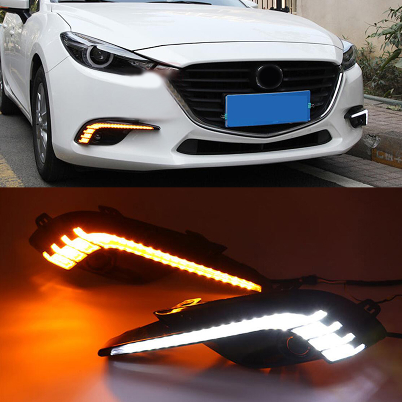 Car DRL 12V LED Daytime Running Light For Mazda 3 2017 2018 Yellow Turning Signal Relay Waterproof with Fog Lamp Hole for ford everest 2016 2017 with turning yellow signal relay waterproof car drl 12v led daytime running light led fog lamp sncn