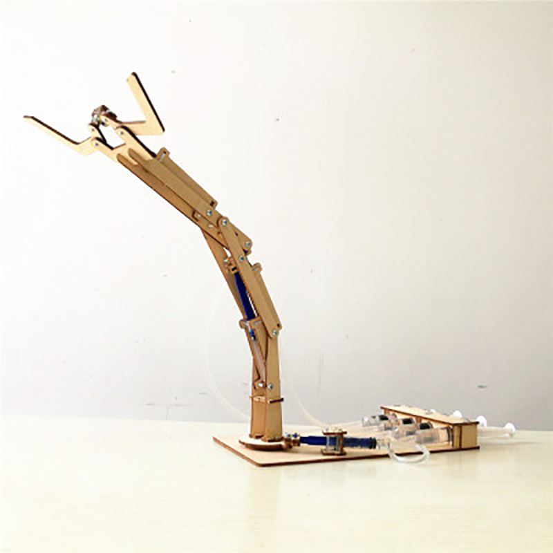 Robot Model Wood Kit Hydraulic Mechanical Arm Technology Diy Boys Toys For Children Desk Robot Kit Robotics Learning Assembly