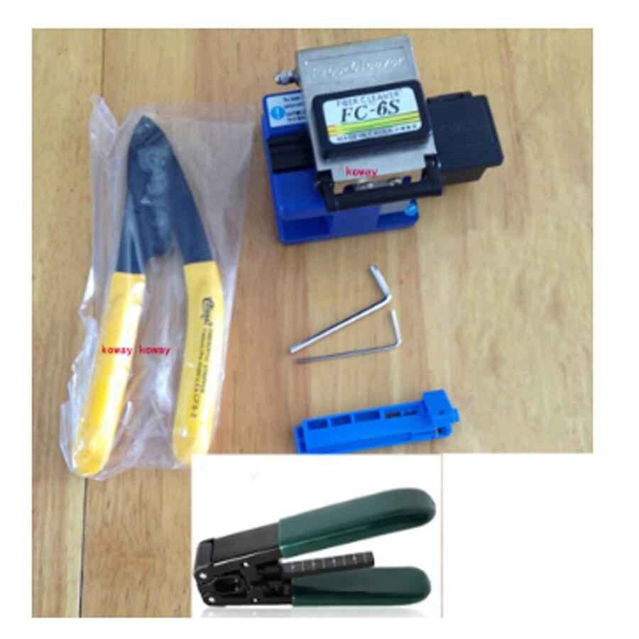 Оптический Волокно Кливер 7in1 FTTH Волокно кабель режущих инструментов с отходами коробка CFS-2 Миллер Клещи для зачистки кабеля