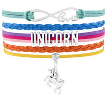 Unicorn Horse Charm Bracelets Animal Heart Infinity Love Wrap Leather Handmade Jewelry Women Girl Christmas Gift Drop Shipping(China)