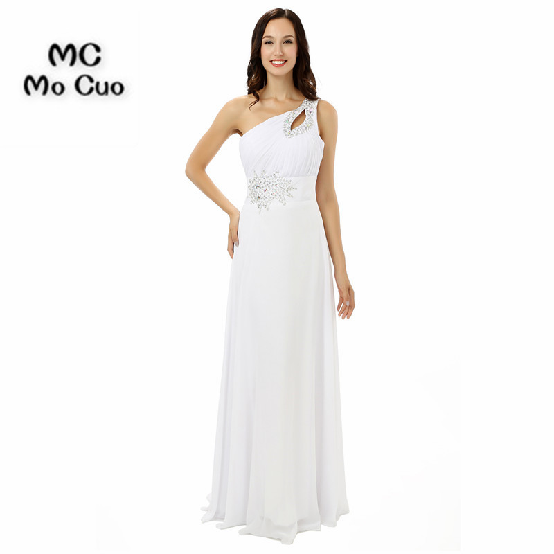 Wellbridal Evening Dresses One Shoulder Long Crystals Beaded White ...