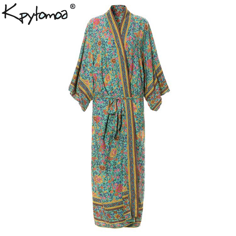 Boho Chic verano Vintage Floral impresión Sashes Kimono camisas mujeres 2018 ropa de moda Cardigan Blusas sueltas Blusas