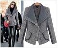 Европейский стиль зима женщины куртка сплайсинга ткань короткая пальто элегантный приталенный утолщение тёплый пальто G1646