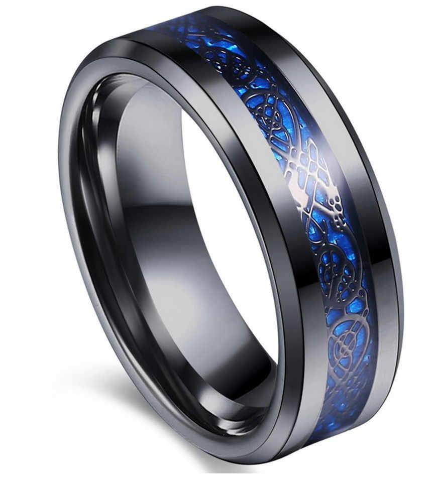 Blue Tungsten Carbide Ring Carbon Fibre Black Celtic Dragon Men/'s Jewelry