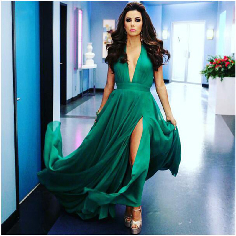 Fashionable V Neck Dark Green Prom Dress Long Evening Gowns With Front Slit  Soft Chiffon Flowy Women Pageant Dress Sleeveless f1d9980a44