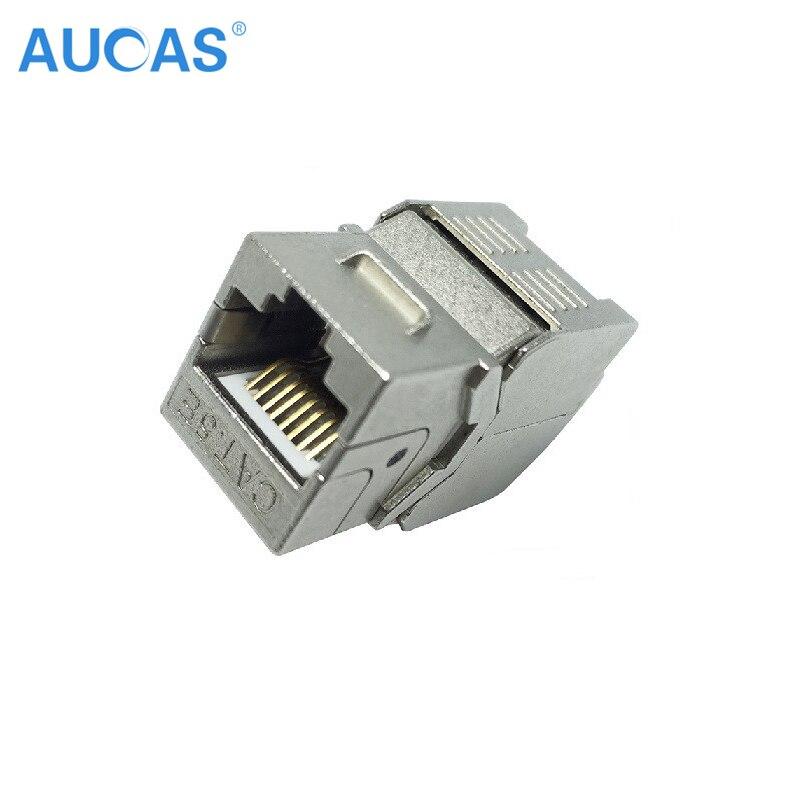 AUCAS 4 unids Cat5e keystone rj45 blindado FTP Módulo de Aleación - Cables de computadora y conectores - foto 3