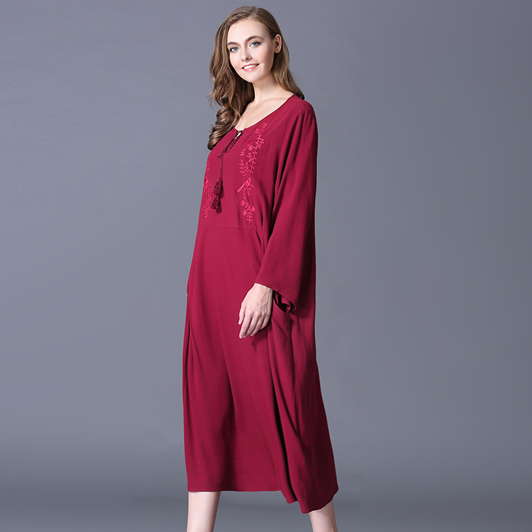 aliexpresscom buy new year red versatile large size womens cotton embroidery round neck long dress cross border supply of foreign trade wholesale from
