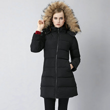 Europe winter new fashion hooded cotton fur collar slim upset women's coat zipper parkas wallet wholesale