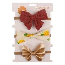 3 Pcs/set Soft Leather Baby Headband Set Nylon Print Hair Bow Earband Solid Sweet Bebe Headwear Newborn Accessories