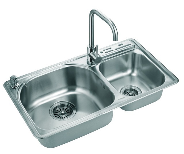 Double Stainless Steel Kitchen Sink Vegetable Washing Large Accessories 800 450