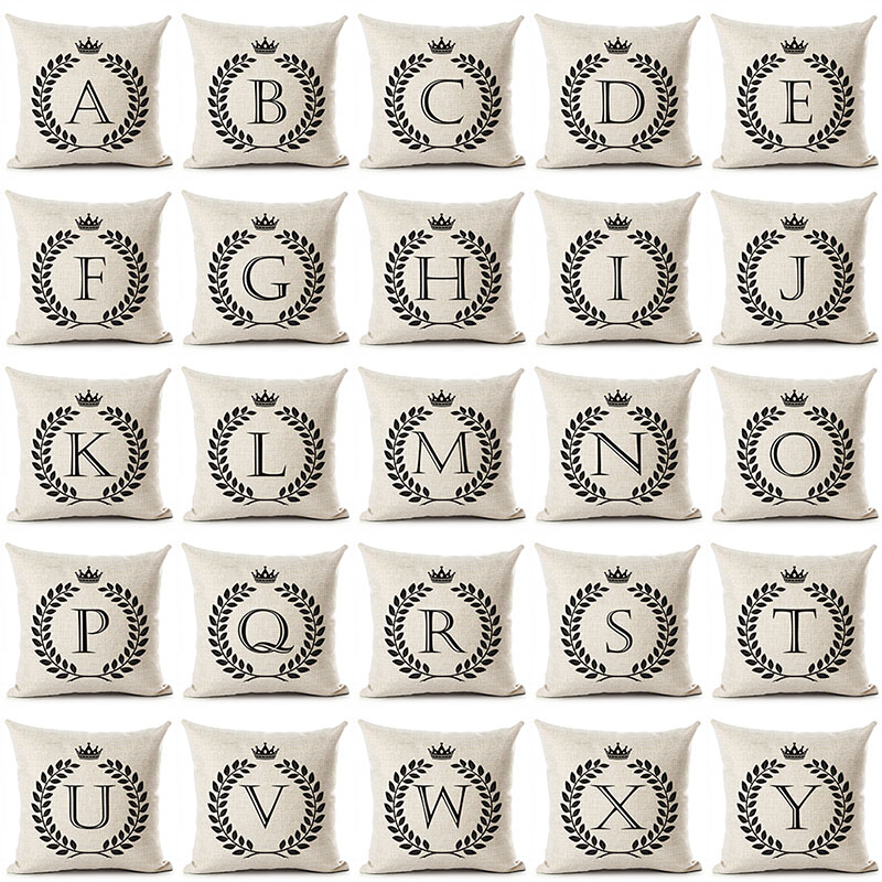 Letter English Alphabet Printed Cotton Linen Pillow Case Decorative Office Home Throw Pillow Cover Cojines Almofada Coussin