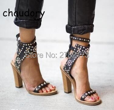 Hot Sale Roman Style Ankle-Wrap Sandal Open-Toe Studded Crystal Embellishment High Quality Summer Rivets Sandals Shoes Women fashion design jaeryn studded leather sandals rivets combat ankle booties high thick heel shoe open toe sexy summer woman sandal