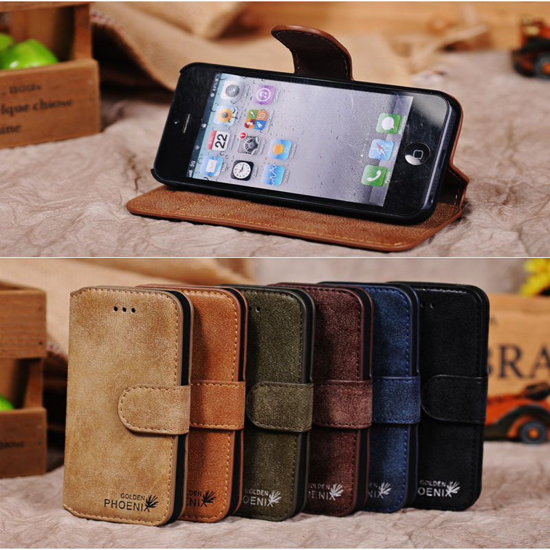 New Original Golden Phoneix Genuine Leather case Wallet up Stand Design Case for iPhone 5S