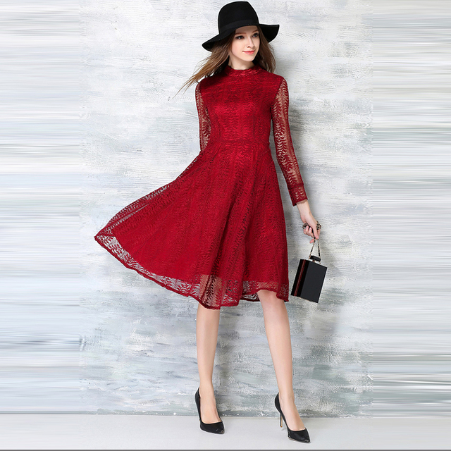 Ninuoer Wanita Berongga Out Sexy Lace Dress Warna Merah Musim Semi