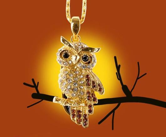 Jewelry Crystal Owl Necklace 8GB 16GB 32GB USB Flash Memory Drive Stick Pen Thumb/Car/Pen creative Gift S86