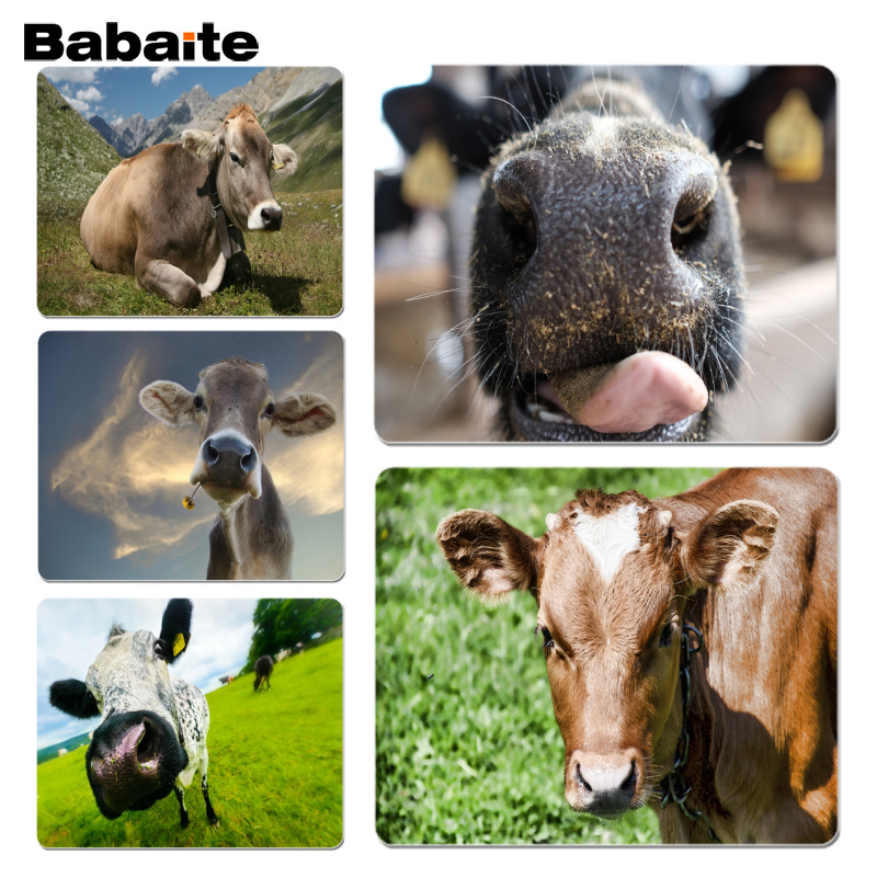 Babaite Boy Gift Pad Cow Nose Tongue Office Mice Gamer Soft Mouse Pad Size for 18x22cm 25x29cm Rubber Mousemats