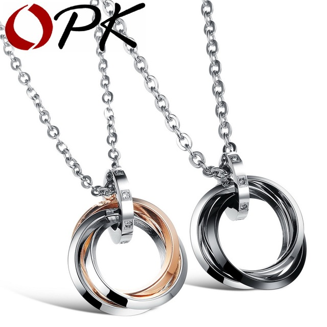 OPK JEWELRY stainless steel Pendant circle pendant couple necklace Crystal inlay Hot Sell 552