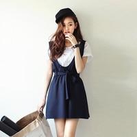 Kawaii Fashion Summer New Strap Dress Set Dress Skirt White Lattice Shirt Navy Strap Dress Student