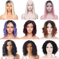 SNOILITE 12 16inch short ombre bob wig Synthetic lace front wig BOB hair wigs women natural bob human hair straight wig