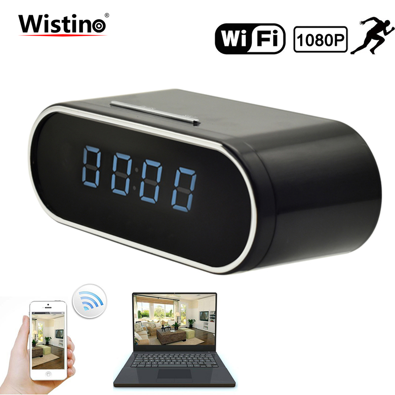 Wistino 1080P WIFI Camera Nanny Camera Black P2P IP Security Clock IOS Android Motion Detection Home Security Wireless Camera детская игрушка new wifi ios