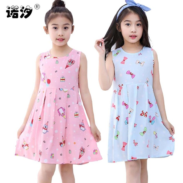 Summer kids clothes girls print cartoon beautiful Knee-Length dresses 2-13T children shirt trousers baby clothing girls outwear