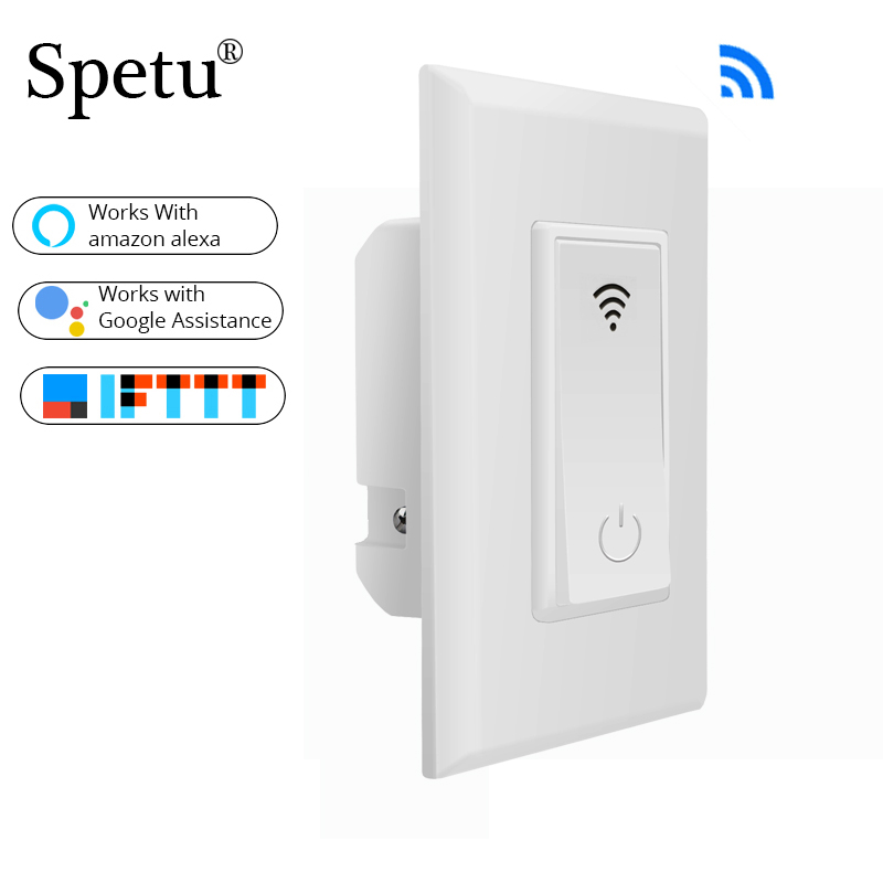 Spetu US WiFi Smart Wall Light Switch Dimmer Mobile APP Remote Control Timed On/off Works With Amazon Alexa Google Home IFTTT