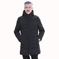 Отец парки с капюшоном среднего возраста человек Puffer капюшоном одноцветное пальто Winter Puff Куртка Для мужчин Повседневное верхняя одежда с х