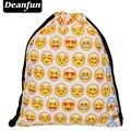 Bolsa Deanfun Señoras 3D Emoji Impresión Softback Feminina Mochila Escolar Mochila de Viaje Bolso de Lazo Amarillo Skd53