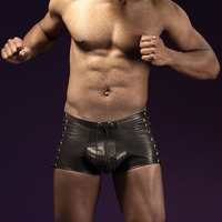 Men S Gay Bar Stage Performance Lace Up Bandage Boxer Rivet With Zipper Underwear Men S