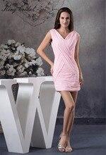2017 rosa Chiffon Sexy V-ausschnitt Rüschen Mantel Spalte Kurze Brautkleider Falten Criss Cross Mini Heimkehr Cocktailkleid Kleider