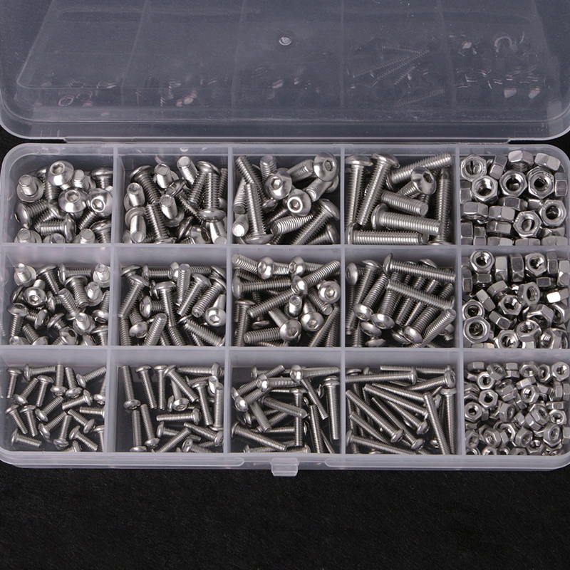 440PCS Hex Socket Screws Stainless Steel Button Head Bolts Nuts Kit Set 440pcs m3 m4 m5 a2 stainless steel iso7380 button head allen bolts hexagon socket screws with nuts assortment kit no 2345