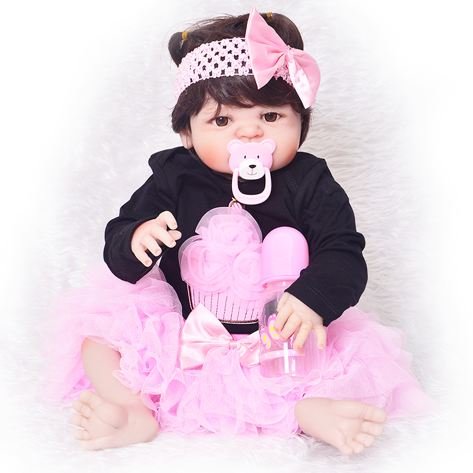 23'' Lovely Princess Babies Doll Lifelike Reborn Baby Dolls For Sale Kids Christmas Gifts Full Silicone Vinyl Body Girl Toys free shipping hot sale real silicon baby dolls 55cm 22inch npk brand lifelike lovely reborn dolls babies toys for children gift