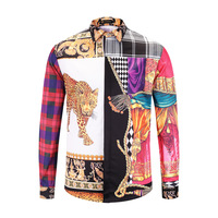 XIMIWUA 2018 New Arrival Fashion Luxury Men Shirts Long Sleeve 3d Print Patchwork Color Hawaiian Shirt Camisas Para Hombre