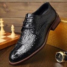 Лидер продаж классические Для мужчин обувь крокодил тиснением из натуральной кожи обувь на плоской подошве под платье Мужская обувь Элитный бренд Осенние туфли-оксфорды Flats9