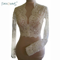 Real Pictures Long Sleeves Sexy V Neck Lace Wedding Jackets 2016 Custom Made Lace Bolero