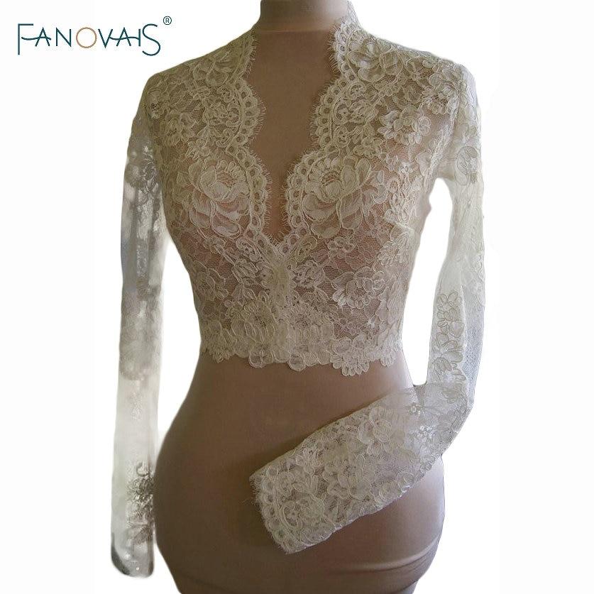 Vintage Lace Wedding Jackets Long Sleeves Sexy V neck Lace Bridal Boleros 2019 Custom made Lace Bolero wedding accessories