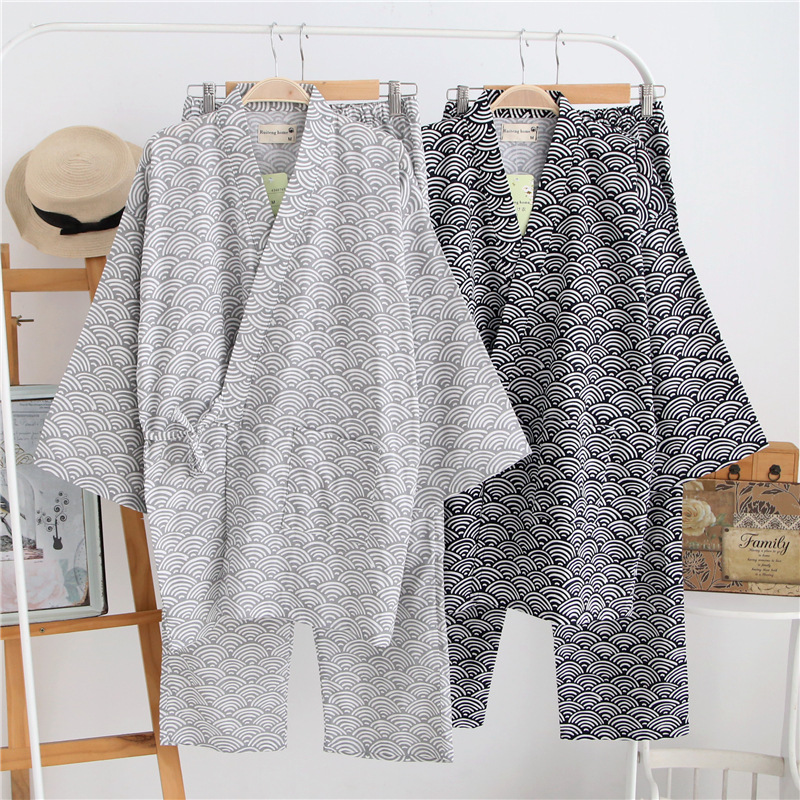 Summer Men's Womens Kimono Pajamas Sets 100% Cotton Double-deck Gauze Men Sleep Nightly Geometric Patterns Homewear Sleepwear