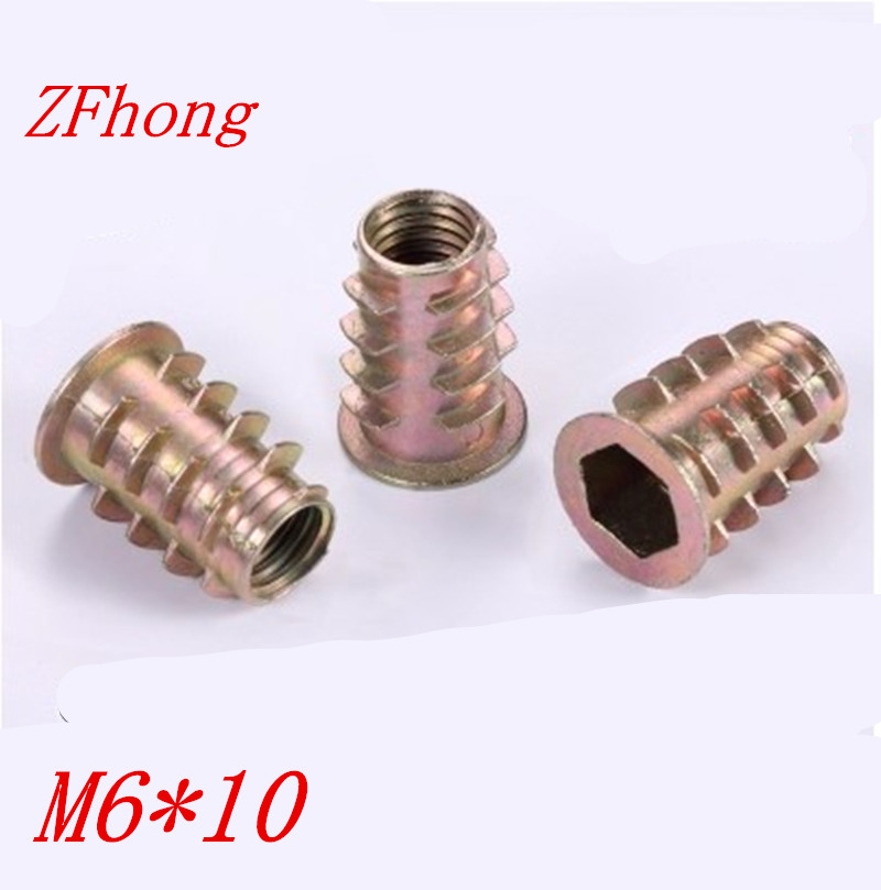 500Pcs M6*10 M6 x 10mm Zinc Alloy Wood Insert Nut Flanged Hex Drive Head Furniture Nuts 10 pcs zinc alloy hex drive head screw insert nut threaded for wood m8x15mm