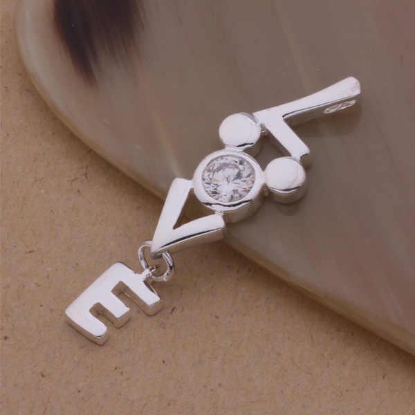 An104 925 stearling prata colar 925 prata moda jóias pingente amor incrustado pedra/atwajlda aeuaiwba