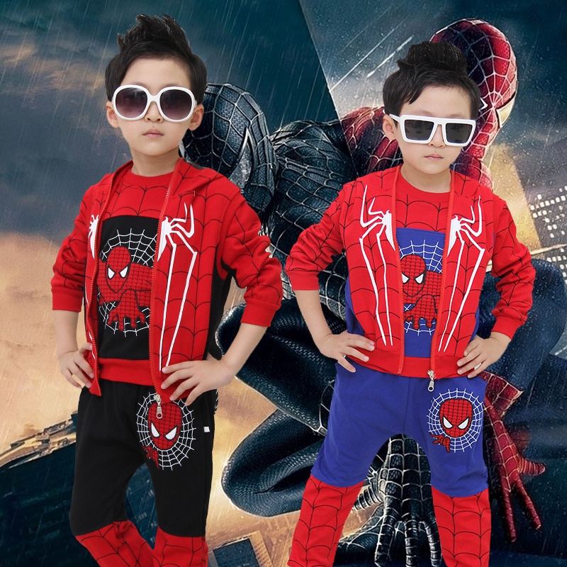2015 baby boy set SpiderMan cute T shirt + hooded vest + pant 3 pieces clothing set Embroidery baby boy clothes vetement enfant infant clothes set baby boy clothes white long sleeve shirt gray vest pant 2pcs set new born baby boy clothing set baby suits