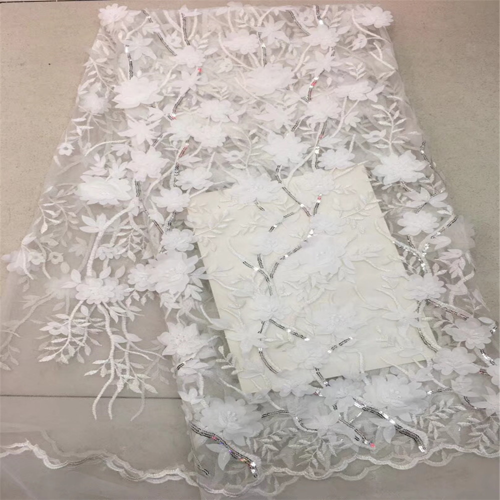 HFX 3D applique sequined Indian lace fabric 2018 white Nigerian tulle, African women's evening dress lace GF14 2