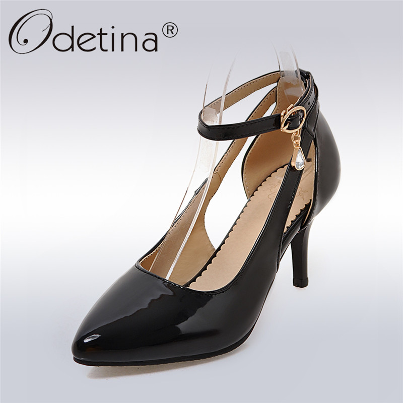 Odetina 2018 New Fashion Patent Leather Pumps Women Ankle Strap Sexy Party Shoes Ladies Pointed Toe Pearl Pumps Big Size 32-43 стоимость
