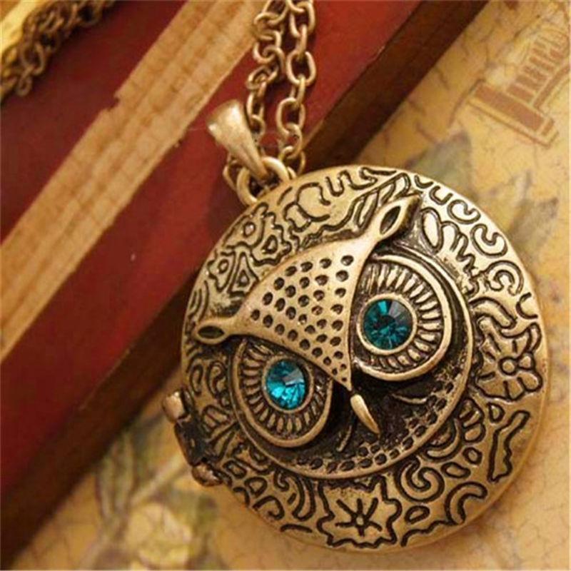 Винтажный набор с совой, ожерелье с подвеской из горного хрусталя для женщин, аксессуары для ювелирных изделий, можно открыть, фотографии в коробке