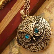 Conjunto de strass colar de pingente de coruja para a mulher do vintage jóias acessórios caixa pode abrir colocar fotos