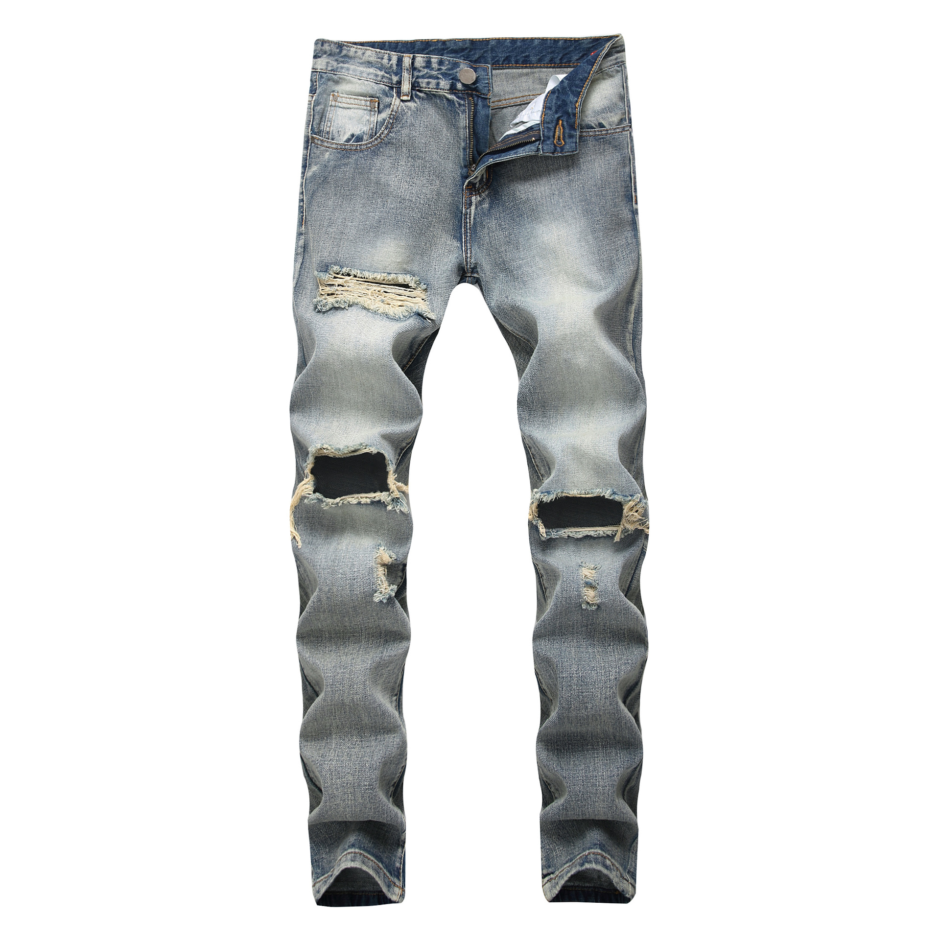 Cotton Mid Waist Slim Fashion Designer Jeans Men Straight Grey Color Printed Mens Jeans Ripped Jeans