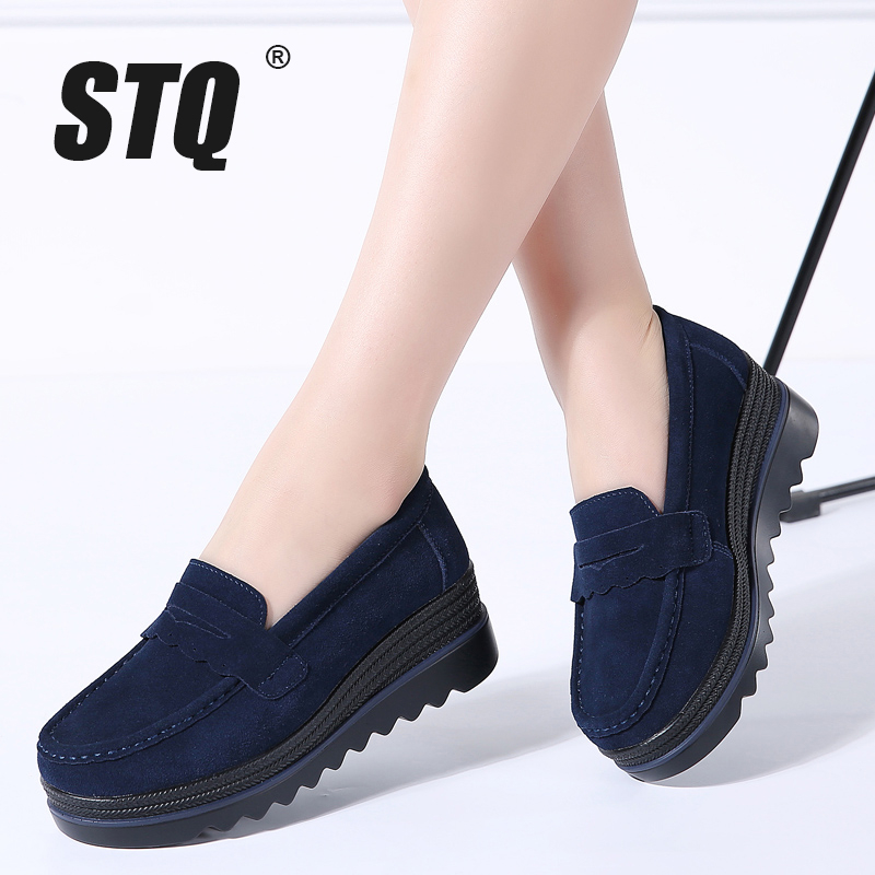 STQ 2019 Autumn women flats shoes slip on platform sneakers shoes leather suede casual shoes flat heels creepers moccasins 3088