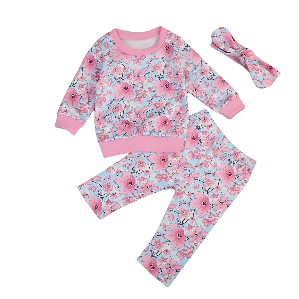 Baby Kids Boys Girls Flower Xmas Child Pjs Sleepsuit Sleepwear Pajamas Nightwear