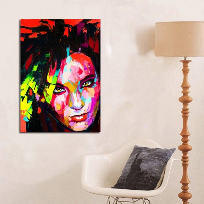 d11f758d2 شحن مجاني هاندبينتيد اللوحات الزيتية الحديثة مجردة جدار الفن الملونة صور  أزياء سيدة الشكل صورة الفن على قماش