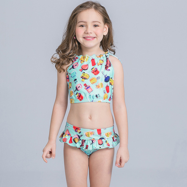 6d3e856328c5f 2018 Children Swimwear Kids High Neck Swimsuit Girl Fish Swimming Suit Kids  Bikini Set Beach Wear Summer Swimsuit For Girls