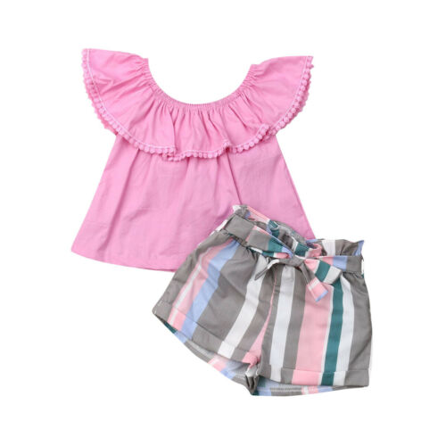 Emmababy Baby Girl Clothes Set Summer Pink Top Ruffle T-shirt Striped Shorts Outfit 2Pcs Cotton Costume Clothing(China)